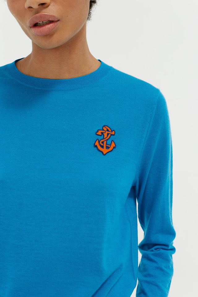 Blue Anchor Badge Cashmere Sweater image 4