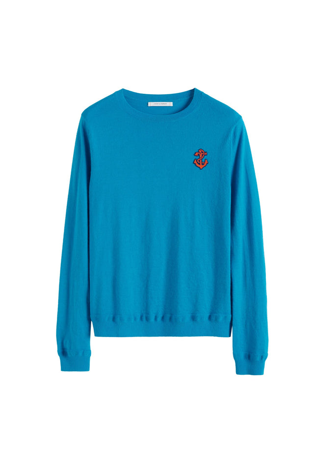 Blue Anchor Badge Cashmere Sweater image 2