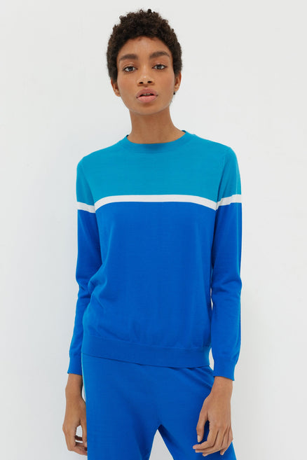 Blue Colour Block Cashmere Sweater