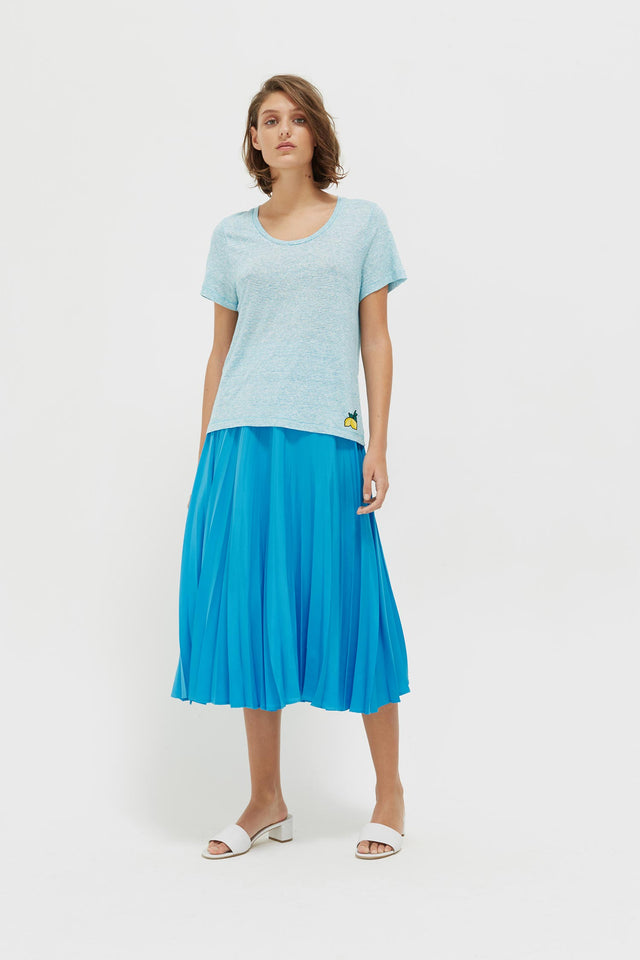 Blue Striped Lemon Patch Linen Jersey T-Shirt image 3