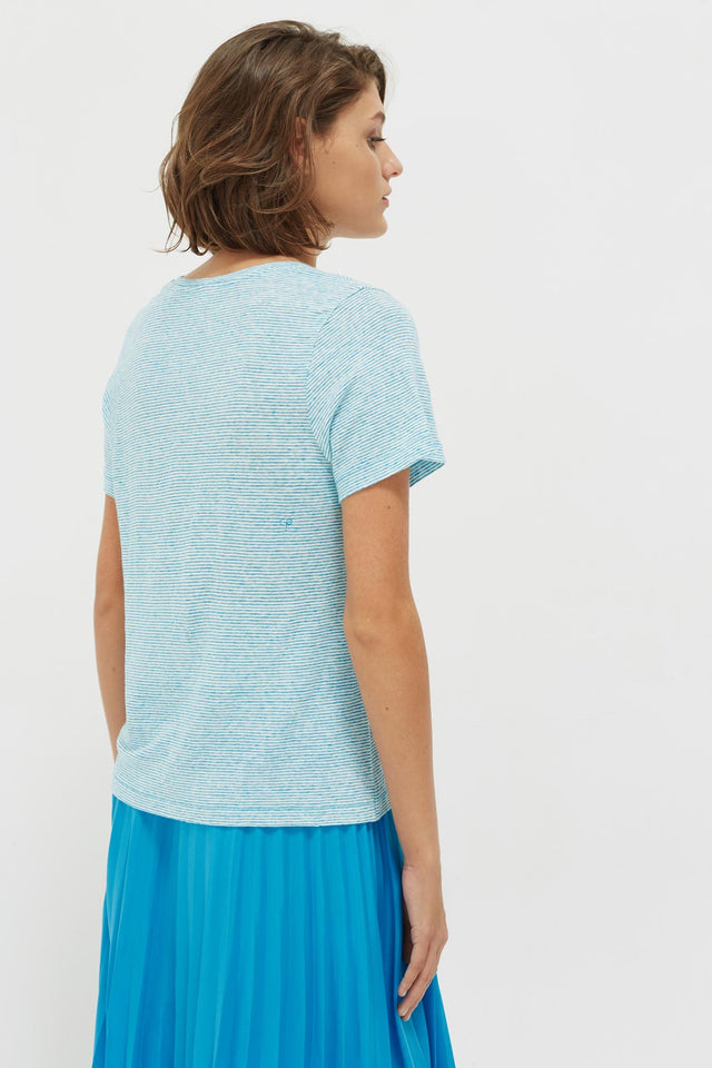 Blue Striped Lemon Patch Linen Jersey T-Shirt image 5