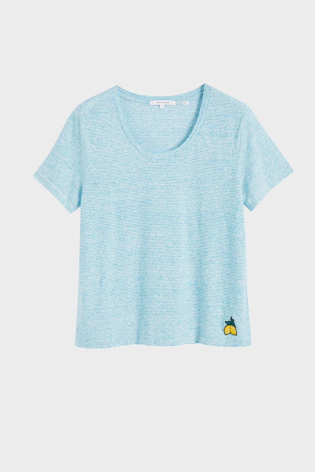 Blue Striped Lemon Patch Linen Jersey T-Shirt image 2