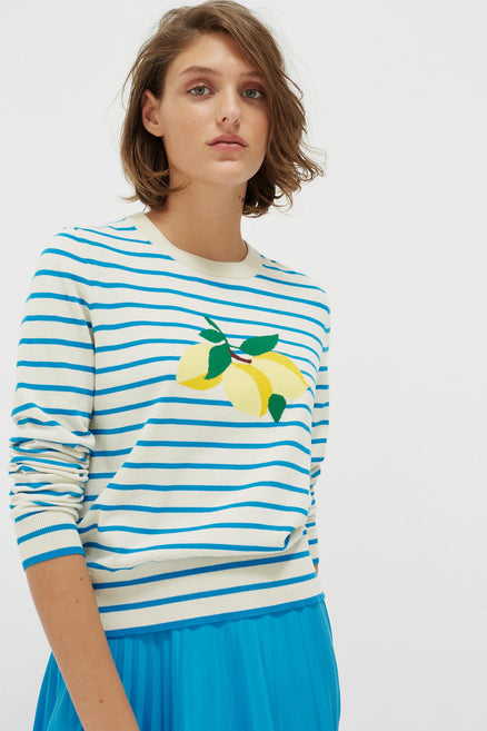 Blue Stripe Lemon Sweater