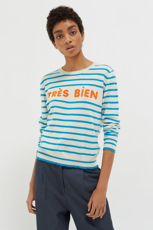 Blue Très Bien Striped Cashmere Sweater image 1