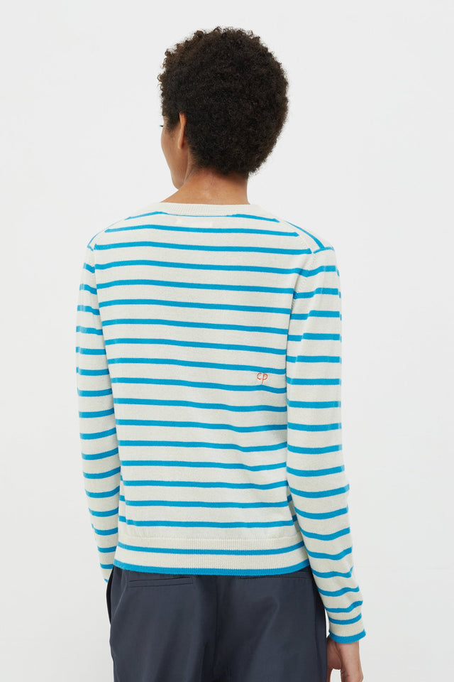 Blue Très Bien Striped Cashmere Sweater image 4