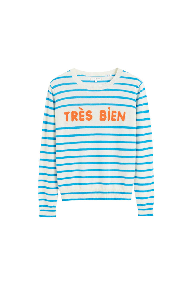 Blue Très Bien Striped Cashmere Sweater image 2