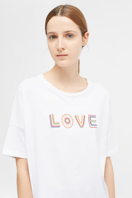 White Short Sleeve Carmen Love T-Shirt