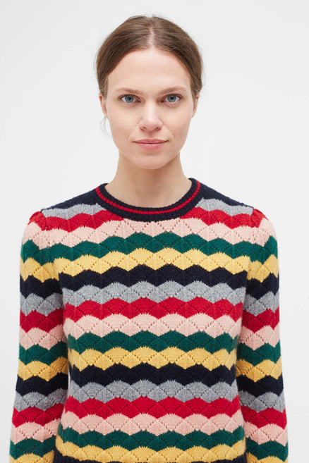 Multi-Colour Chevron Wool Sweater