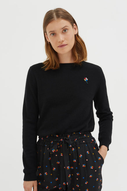 Black Clover Badge Cashmere Sweater