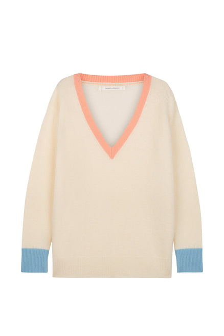 Cream Cashmere Colour Block Sweater