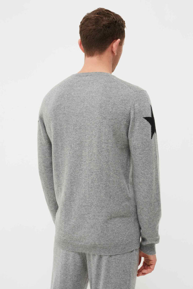 Men's Grey Cashmere Star Sweater image 4