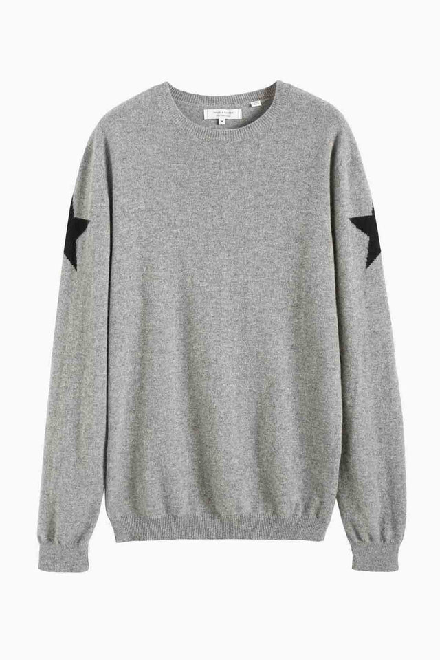 Men's Grey Cashmere Star Sweater image 2