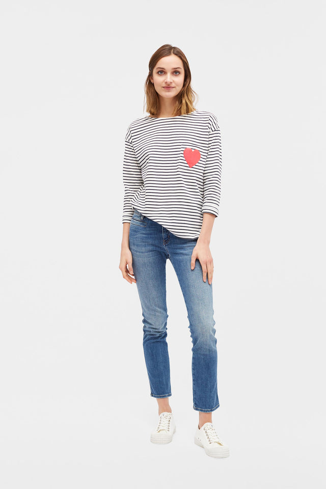 Cream with Navy Striped Breton Heart T-Shirt image 2