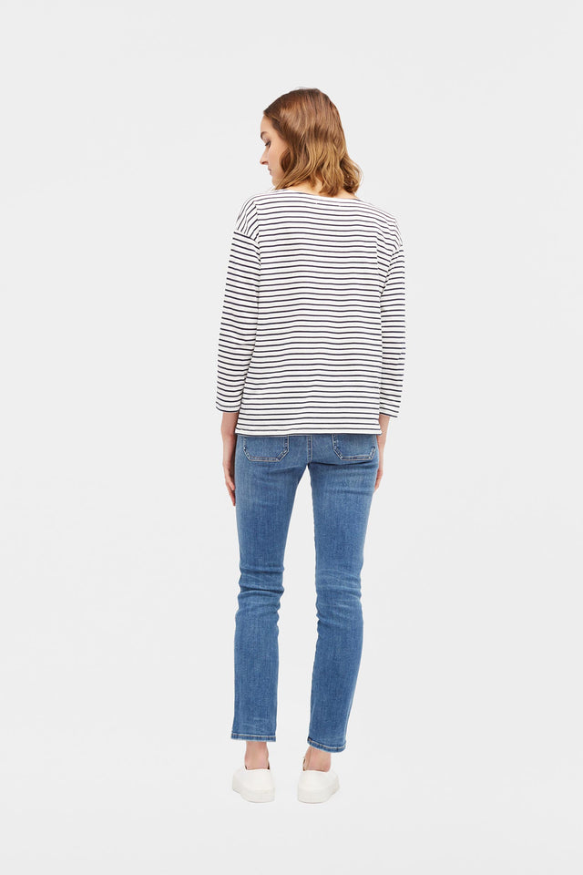 Cream with Navy Striped Breton Heart T-Shirt image 4