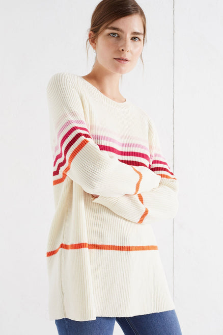Cream Ribbed Stripe Merino Sweater