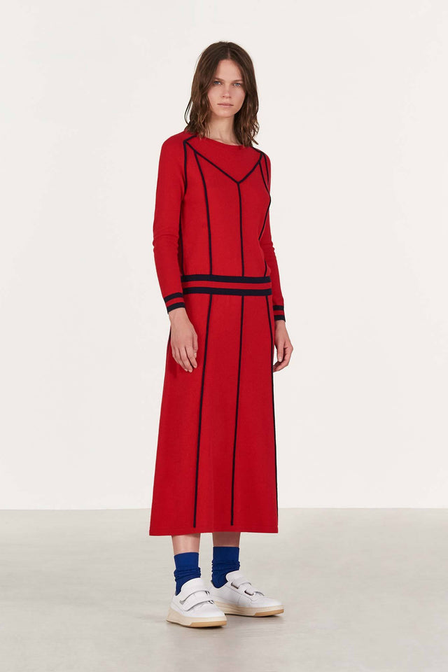 Red Ribbon Wool Dress image 6