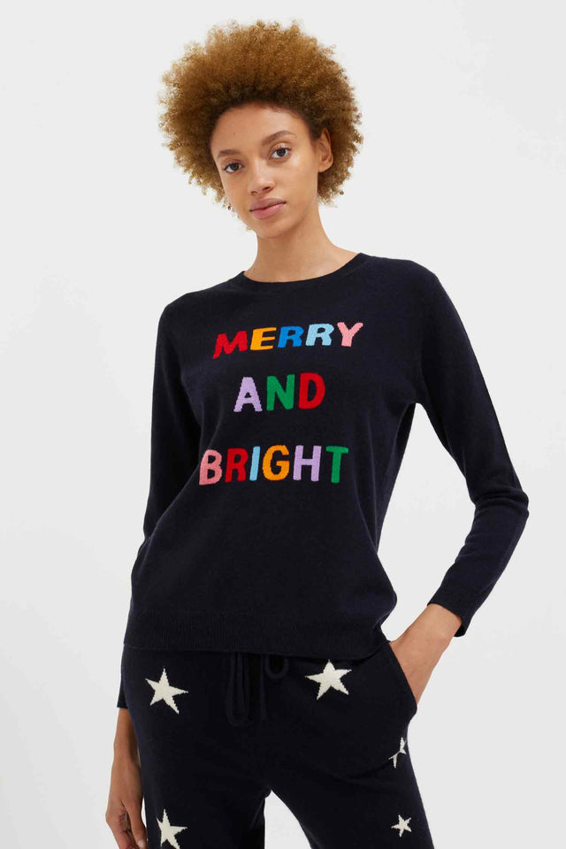 Navy Merry and Bright Wool-Cashmere Sweater image 1