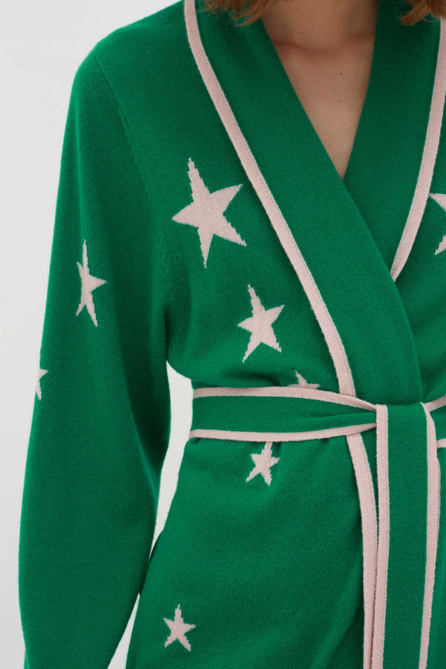 Green Cashmere Star Dressing Gown image 4