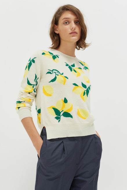 Cream Allover Lemon Cashmere Sweater