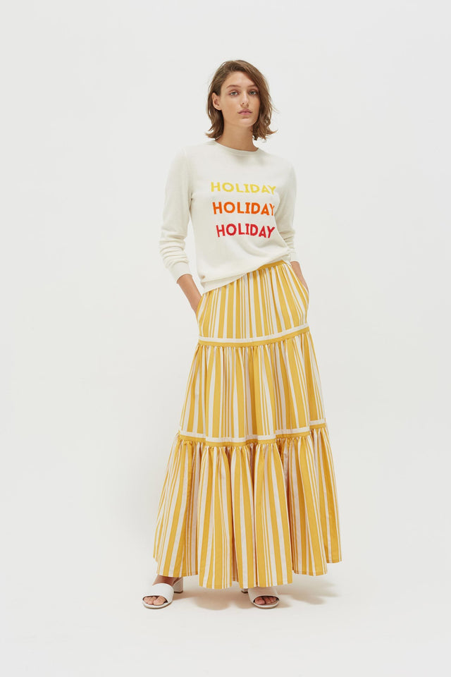 Cream Holiday Wool-Cashmere Sweater image 3