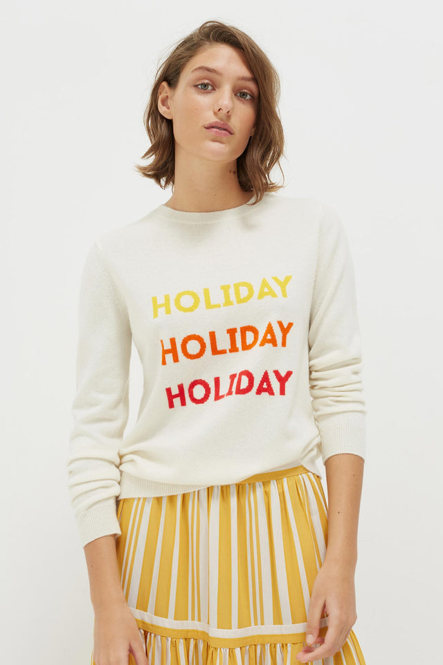 Cream Holiday Wool-Cashmere Sweater image 1