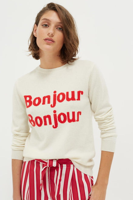 Cream Bonjour Bonjour Cashmere-Wool Sweater