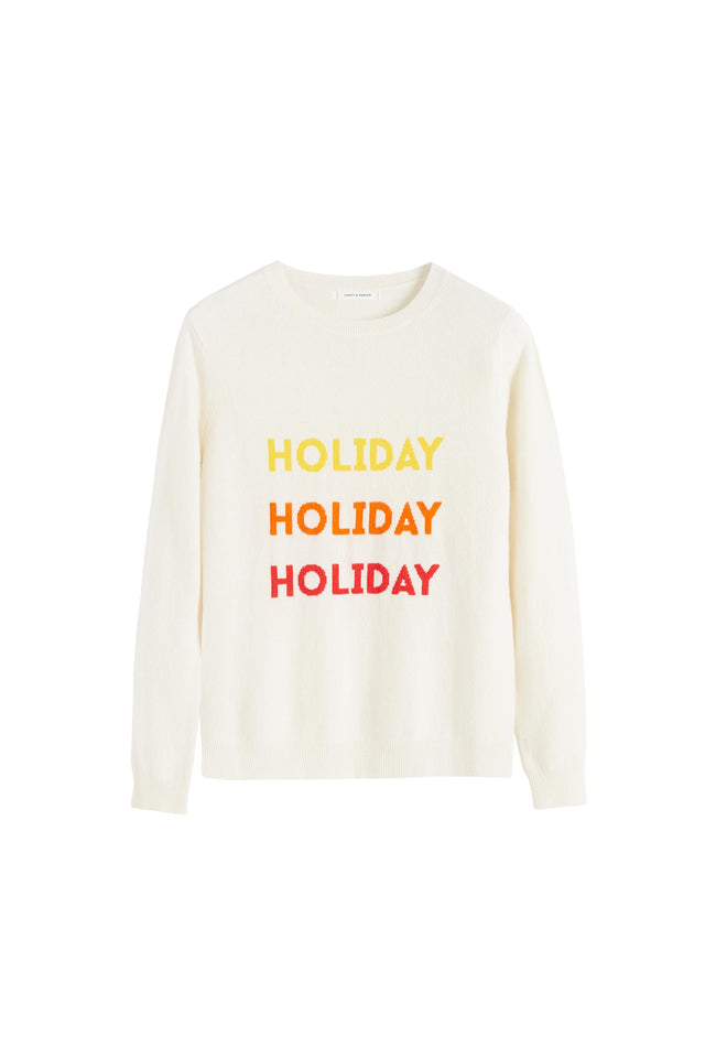 Cream Holiday Wool-Cashmere Sweater image 2