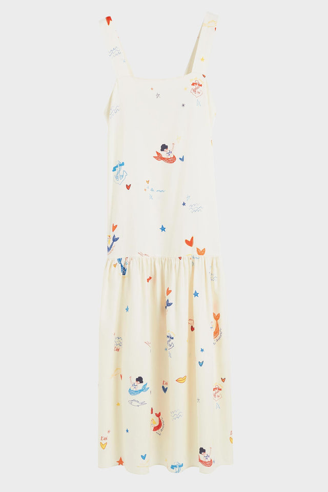 Cream Mermaid Print Silk Sundress image 2