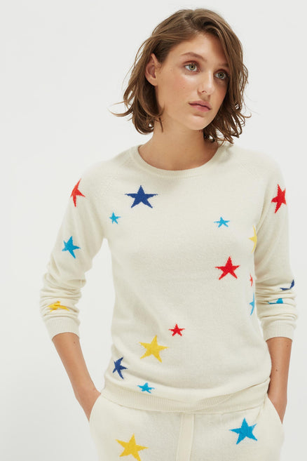 Cream Tonal Star Cashmere Sweater