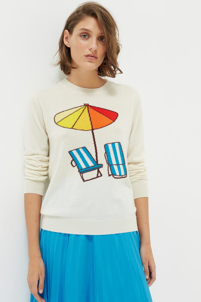 Cream Sunbed Cashmere Sweater image 1