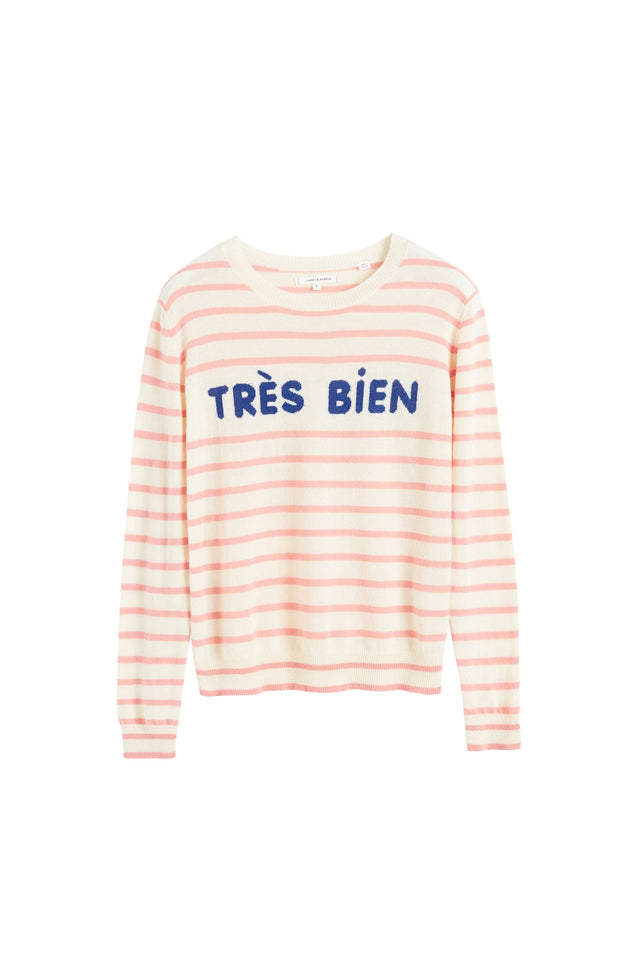 Cream Très Bien Striped Cashmere Sweater image 2