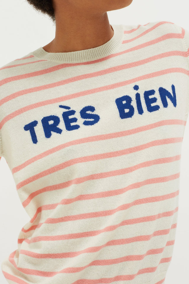 Cream Très Bien Striped Cashmere Sweater image 3
