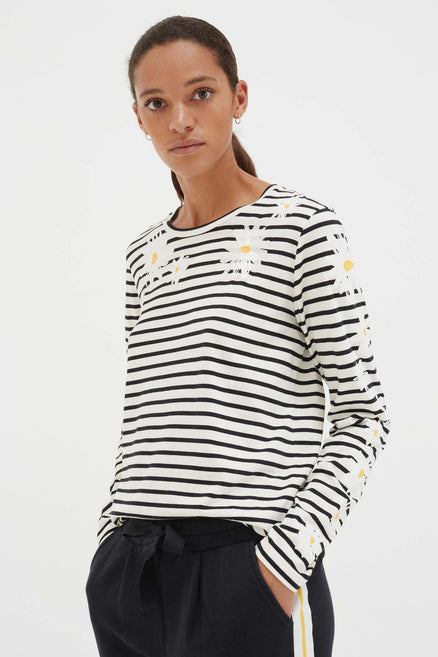 Ivory Cotton Debbie Long Sleeve T-Shirt