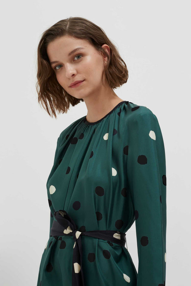 Green Painted Spot Silk Dress image 3