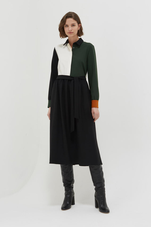 Colour-Block Wool Twill Shirt Dress image 1