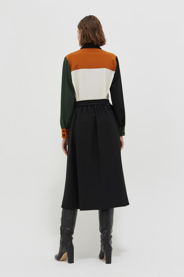 Colour-Block Wool Twill Shirt Dress image 5