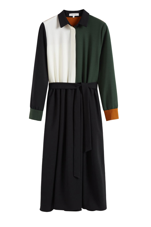 Colour-Block Wool Twill Shirt Dress image 2