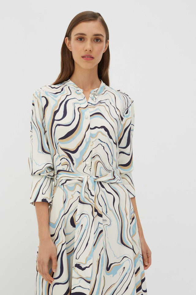 Ivory Marble Twill Shirt Dress image 3