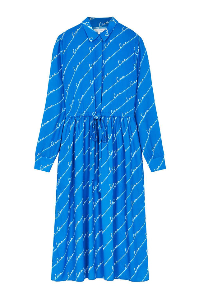 Royal-Blue Ciao Crepe-Georgette Shirt Dress image 2