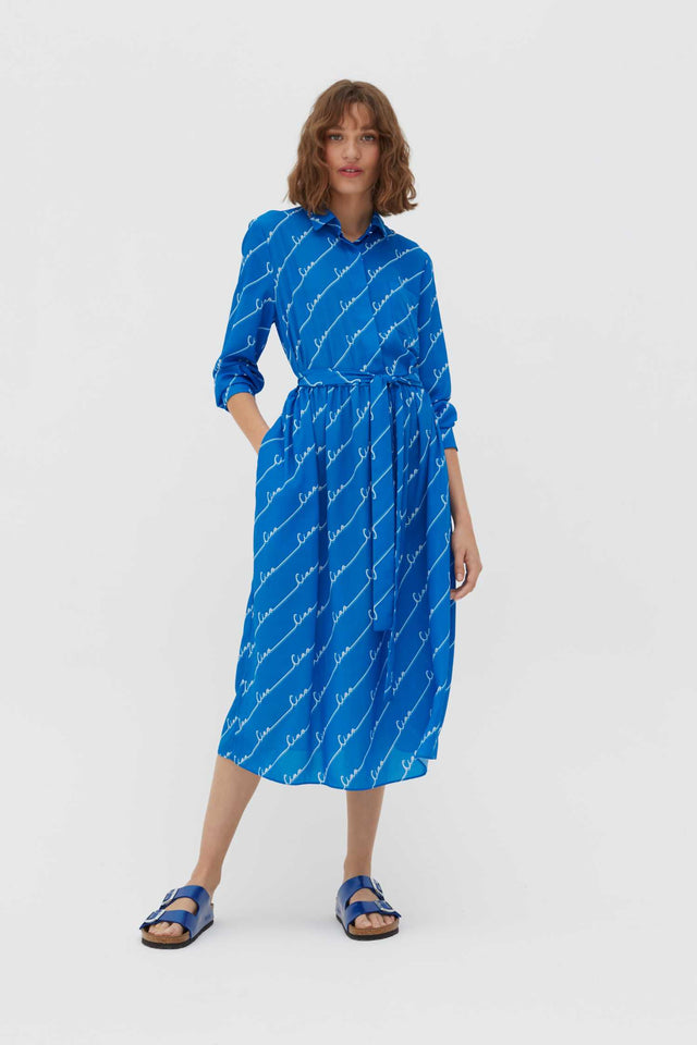 Royal-Blue Ciao Crepe-Georgette Shirt Dress image 1