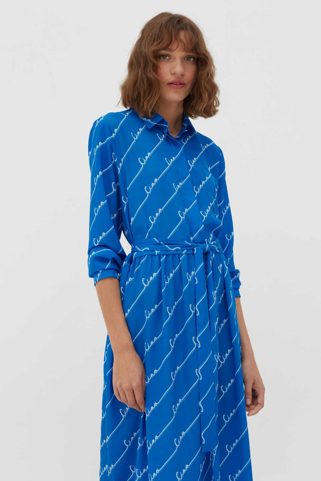 Royal-Blue Ciao Crepe-Georgette Shirt Dress image 4