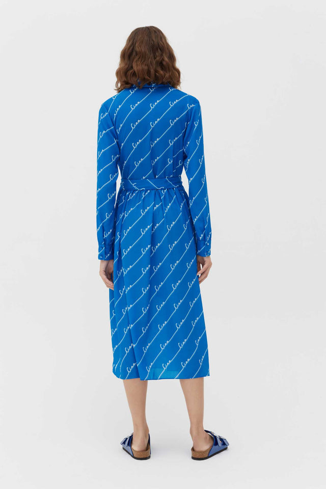 Royal-Blue Ciao Crepe-Georgette Shirt Dress image 3