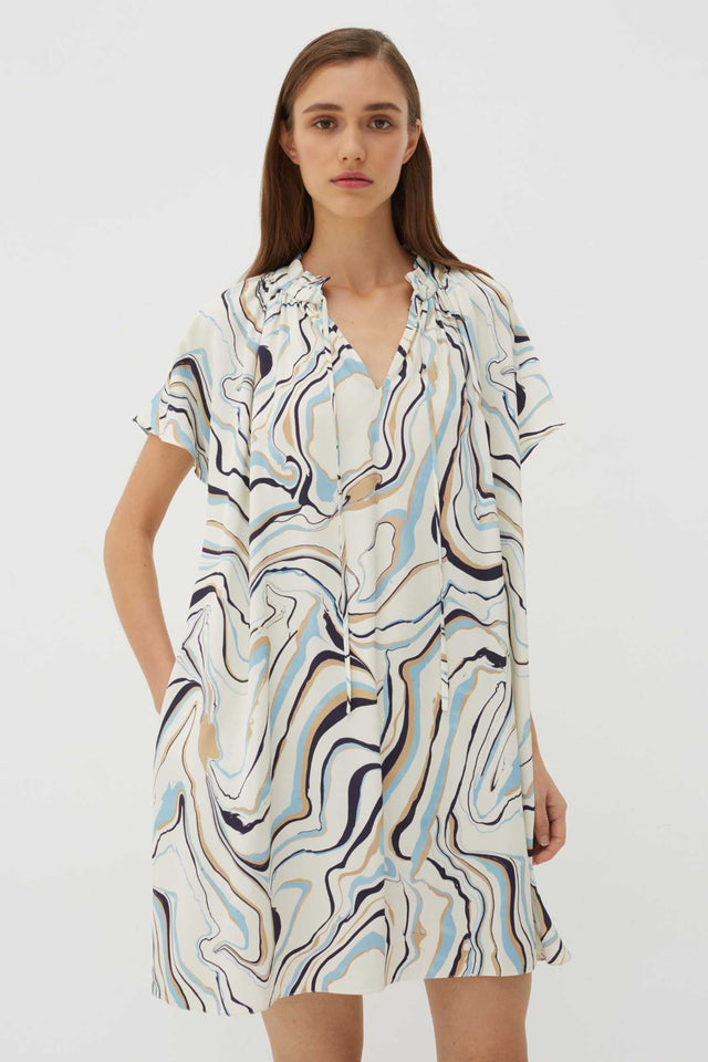 Ivory Marble Twill Mini Dress image 2
