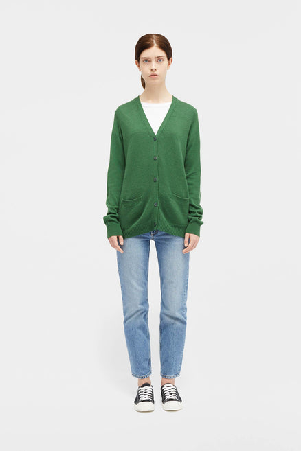 Green Elbow Patch Cardigan