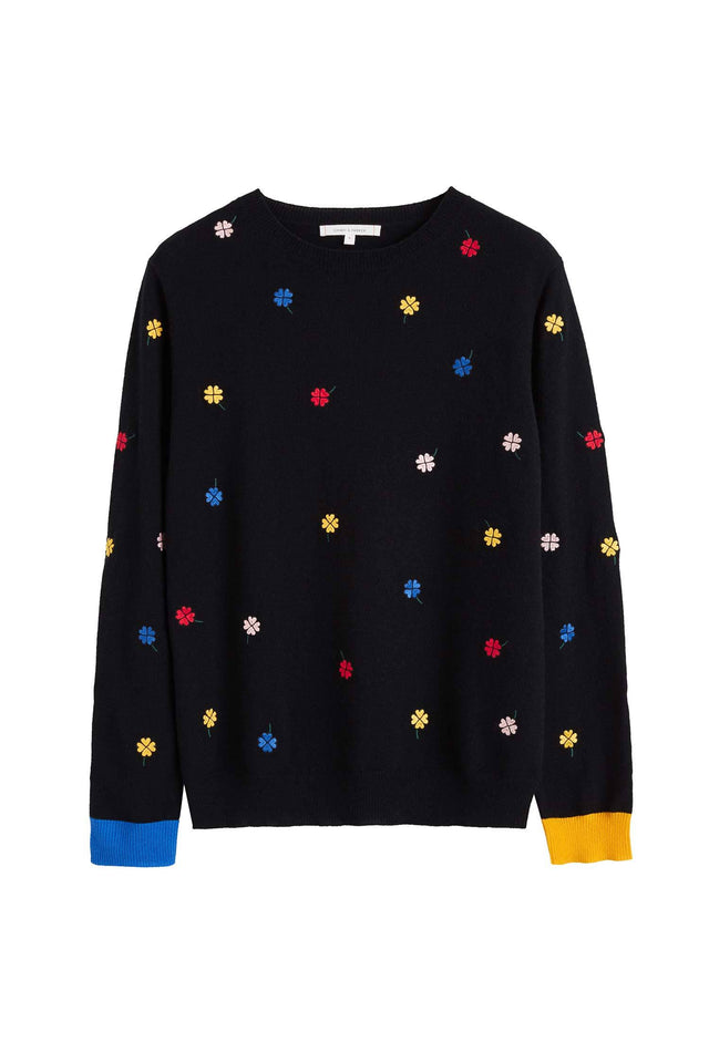 Black Embroidered Magic Clover Cashmere Sweater image 2