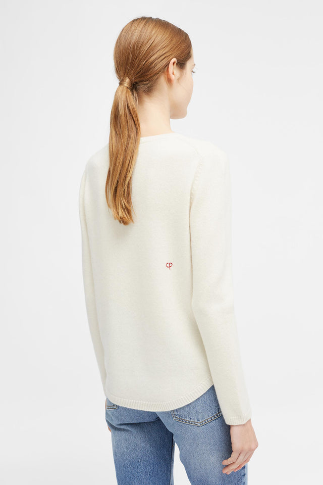 Cream Embroidered Love Sweater image 3