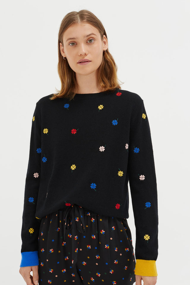Black Embroidered Magic Clover Cashmere Sweater image 1