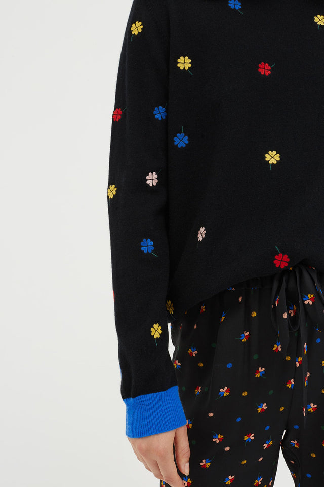 Black Embroidered Magic Clover Cashmere Sweater image 4