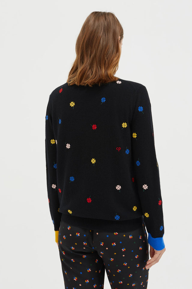 Black Embroidered Magic Clover Cashmere Sweater image 5