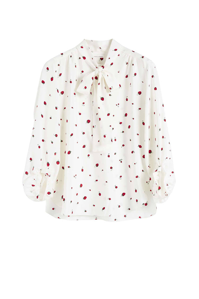 Ivory Silk Strawberry Fields Blouse image 2